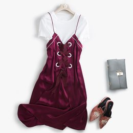 Wholesale Short Straight Dress Design - Europe Stylish Women Fashion Straight Design Round Collar Short Sleeved White Tops and Overall Dress Luxury Ladies Cute Dresses A14