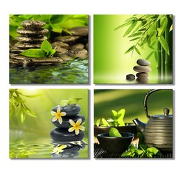 Wholesale contemporary pictures - 4 Panels HD Contemporary Art Zen Home Decor Wall Art Picture Digital Art Print Canvas Printed Picture for Living Room