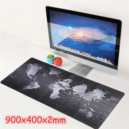 Wholesale Large Maps - 2017 new Super Large Size 90cm*40cm grande World Map mouse pads Speed Computer Gaming Mouse Pad Locking Edge Table Mat