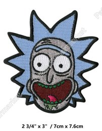 Wholesale Movie Filmed - Rick and Morty Animated patches Embroidered Iron On Badge Movie Film TV Series halloween cosplay costume clothing diy