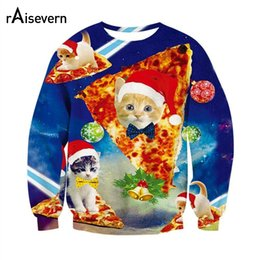 Wholesale Characters Blue Cat - Wholesale- Raisevern Fashion Sweatshirt 3D Print Christmas Hoodie Cute Kitten Sloth Grumpy Cat With Christmas Hat Outerwear Tops Dropship