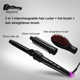 cheveux ondulés en fer humides Promotion 2017 Date cheveux lisseur brosse 3 en cheveux interchangeables bigoudi cheveux lisseur bigoudi ensemble de haute qualité DHL livraison gratuite