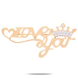 Wholesale Crown Gold Jewellery - BR524 Love You Crown Brooches For Women Birthday Gift Gold Plated Jewellery Rhinestone Pins
