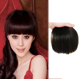 Wholesale Clip Bangs Front - High Quality New Star's Natural Hair Fringe Clip in Bangs Fake False Hair Piece Accessories Clip on Front Neat Bang For Women Free Shipping