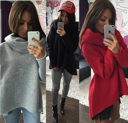 Wholesale Women S Long Scarves - 2017 New Arrival Christmas Clothes Women Winter Hoodies Scarf Collar Long Sleeve Fashion Casual Style Autumn Sweat Irregular T-Shirts