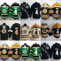 barato qualidade hoodies Desconto Venda quente Mens Boston Bruins 4 Bobby Orr Verde Preto Amarelo Bege Melhor Qualidade Barato 100% Logotipo Do Bordado de Hóquei No Gelo Hoodies Tamanho S-3XL