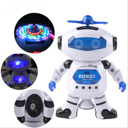 Wholesale Musical Lights For Christmas - 360 Rotating Space Dancing Robot Christmas Birthday Gift Toy For Child Musical Walk Lighten Electronic Toy Robot LED Lighted Toys