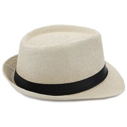 Wholesale White Paper Straw - Summer Solid Color Unisex Fedora Hat Beach Sunhat For Women Men Fedora Hat Summer Beach Sunhat Cap Straw