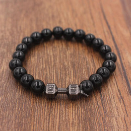 Wholesale Making Porcelain Beads - New Design Men's Jewelry Made by 8mm Natural Stone Beads with Alloy Metal Fitness Dumbbell Charm Bracelets