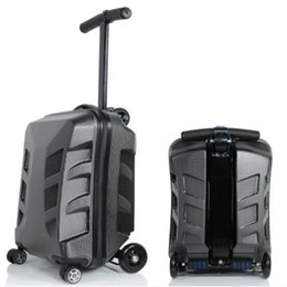 Wholesale Cabin Luggage - High quality 21 Inches Kick Scooter Suitcase Trolley Case 3D Business Travel Cool Cabin Luggage Creative Men Women Skateboard