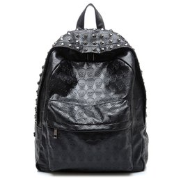 Wholesale Rock Punk Style Bags - Wholesale- TEXU Daily Backpack Punk Skull Imprint Backpacks College School Bags