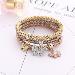 Classici a prova di esplosione tre colori vestito donne strass elastici catena a farfalla pendente con diamanti oro argento bracciale in oro rosa da