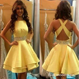 Wholesale Modest Knee Length Gowns - Modest Cheap Homecoming Dresses Jewel Neck Beaded Sequins Sash 2017 Party Gowns Criss Cross Back Satin Short Prom Dress Custom Made