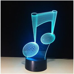 Wholesale Gifts Music Lover - 7 Color Change LED Lamp 3D Music Note Night Light Musical Note Instrument Light Home Decor USB LED Music Lovers Gift