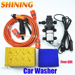 Wholesale Electric Car Washing Machine - Wholesale-Free Shipping DC 12V Electric 60W High Pressure Portable Car Washer Washing Machine Car Wash Washing Pump Tool Kit + Free Gift