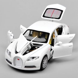 Wholesale Back Light For Car - Collectible Alloy Diecast 1 32 Bugatti Veyron 16C Galibier Electronic light sound Pull Back Cars Model Kids Toys for Boys