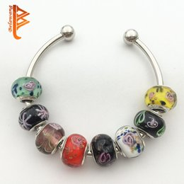Wholesale Handmade Jewelry Wholesale Accessories - BELAWANG Handmade Lampwork Murano Glass Beads Flower Charm Beads Fit Pandora Original Bracelet Jewelry DIY Accessories Wholesale 50Pcs lot