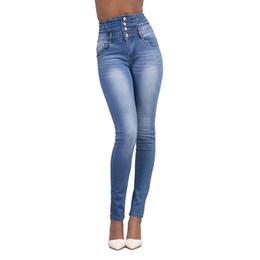 Pantalones lápiz xxl online-Al por mayor-Mujeres de la manera Señoras 4 botón Jeans Sexy cintura alta delgados pantalones vaqueros delgados Stretch Pencil Denim Pants S-XXL # 226375