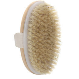 product spa Coupons - Wholesale-Natural Bristle Dry Skin Body Brush Exfoliate Stimulate Blood Circulation Relaxing SPA Shower Scrubber Massager Bathroom Product