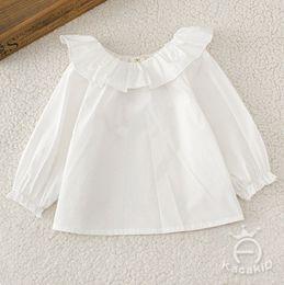 Wholesale Baby Lapel - Baby kids shirt new girls falbala lapel long sleeve shirt toddler kids white doll shirt tops children cotton clothes A0495