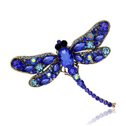 Wholesale White Gold Dragonfly Jewelry - New Design Vintage Multicolor Crystal Dragonfly Brooches Antique Gold Alloy Rhinestone Animal Costume Pins Fashion Breastpin Party Jewelry