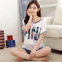 Wholesale Sets Girl S Pink Flower - Wholesale- pajamas for women pijama pyjamas Soft Cotton Sleepwear Homewear Flower Pink Print Brand Quality Fashion Girl Love pajama sets