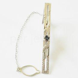 Wholesale Sterling Silver Tie Clips - Sapphire tie clip Free shipping 925 sterling silver Real natural blue sapphire Men jewelry Fine blue gems 0.65CT gem