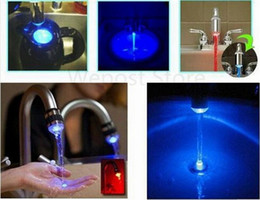 Wholesale Faucet Lamp - Wholesale- Free shipping novelty gifts 3 color LED faucet lamp According to temperature change color kitchen tap