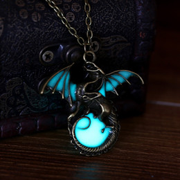 Wholesale Girls Dragon Jewelry - Game of Thrones Glow in the Dark Dragon Pendant Necklace Punk Vintage Jewelry Gift for Boys Girls Friend SLXL16081G