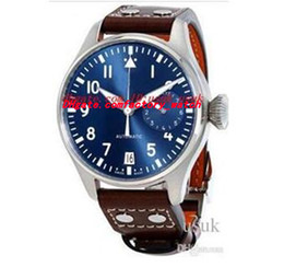 Wholesale Pilots Watches - Top Quality Luxury Wristwatch Big Pilot Midnight Blue Dial Automatic Men's Watch 46MM Mens Watch Watches.