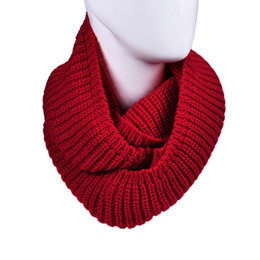 Wholesale Red Knit Infinity Scarf - Wholesale-New brand 2015 Fashion Womens Winter Warm Infinity 2 Circle Cable Knit Ring Neck Scarf