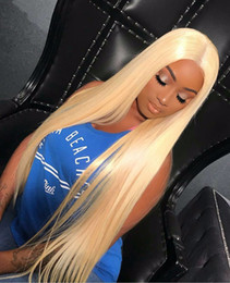 Wholesale 613 Blonde Closure - 613 100% Human Hair Frontal with Bundles Malaysian Straight Virgin Hair Weaves Ear to Ear 13*4 Blonde Lace Closures with bundles