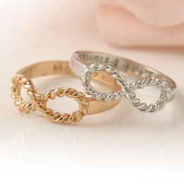 Wholesale Vintage Friendship - 1 PC Gold Silver Vintage Infinity Rings Femme Friendship Best Friend Ring for Women and Men Anel Jewelry Gift