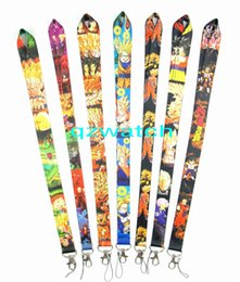 Wholesale Lanyard Keys Id Neck - Hot! 50pcs Mixed Cartoon Anime DRAGON BALL Z Super Saiyan Super Saiyan Goku Gohan Vegeta Toy KEYS ID card Neck Lanyard straps Free Shiip