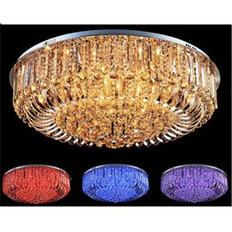 Wholesale Flush Ceiling Mount Chandelier - Free Shipping High Quality New Modern K9 Crystal LED Chandelier Ceiling Light Pendant Lamp Lighting 50cm 60cm 65cm 80cm remote control