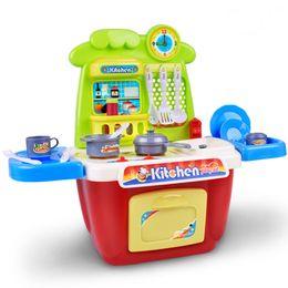 Wholesale Kitchen Plastic Girls - Kitchen Toys Set Sound Light Toys Play house toys Girl cooking utensils tableware Girl gift birthday present