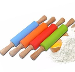 Wholesale Cake Rolling Pins - 38CM Silicone Rolling Pin Solid Wood Handle Roller Non stick Food Flour Sticks DIY Baking Tools Fondant Cake Baking Tools KKA3583