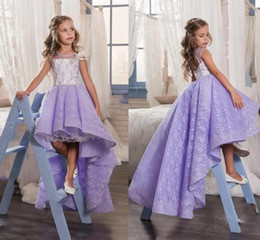 Wholesale Cute Gowns For Prom - 2017 Cute Lilac Lace High Low Flower Girl Dresses For Weddings Lavender Girls Pageant Gowns Baby Prom Party Dresses Custom Made