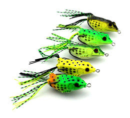 Wholesale Wholesale Soft Plastic Baits - 5pcs set Colorful Soft Plastic Fishing lures Frog lure With Hook Top Water 6CM Artificial Fish Tackle With Retail Package