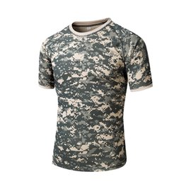 Wholesale Grey Tee - Men's Tactical Gear Military Airsoft Special Ops Combat Tee Camouflage Light Weight Round Neck Quick Dry Short Sleeve Tee