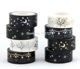 Wholesale Gift Wrapping Paper Rolls - Wholesale- 2016 Black Moon Stars Washi Paper Masking Tapes 1.5cm x 5m DIY Scrapbooking Heart Stickers Gift Wrapping Sticker 100 rolls