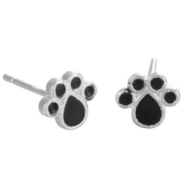Wholesale Paws Heart - 5 pairs lot Real Pure 925 Sterling Silver Jewelry Black Enamel Forever Lovely Puppy Dog Paw Stud Earrings pendientes de plata
