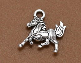 Wholesale Wholesale Horse Beads Jewelry - 100Pcs  Lot 14*10mm Antique Silver Color Horse Charms Beads Fit European Bracelets Fashion Mother'S Day Jewelry