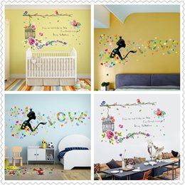 Wholesale Decorative Birds Decals - Spring home decor wall stickers for Kids Room Decor Sticker Cute Flowers bird girl Dandelion decorative wall Stickers