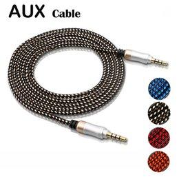 tipos de conectores de altavoz Rebajas Cable AUX Cable de audio auxiliar trenzado de nylon de 3.5 mm sin enredos 5 pies 1.5 m para auriculares iPods iPhones iPads Estéreos para el hogar CAB152