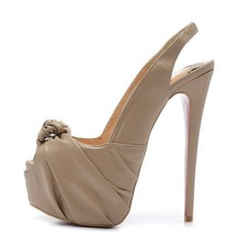 Wholesale Dress Sling - New 2017 Women Peeptoe Leather Women Sling on High Heels,Brand Design Ladies Platform Pumps 16cm Heel Dress Shoes 35-42 Drop Shipping