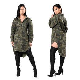 Wholesale Turndown Collar Dress Shirt - Woman Long Shirt Dress 2017 Spring New Fashion Casual Loose Turndown Collar Long Sleeve Camouflage Cloth Shirt Dress Free Shipping