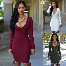 Wholesale Wholesale Green Bandage Dresses - Europe and the temptation of sexy tight halter dress sexy nightclub party long sleeved bandage pencil skirt black red green white red SMR09