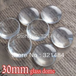 Wholesale Glass Round Tile - bulk 100piece lot 30mm flatback round clear glass cabochon tray pendant cover glass dome tile seals