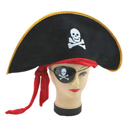Wholesale Wholesale Pirate Caribbean Party - 2017 Biggest sell Party Supplies New Halloween Accessories Skull Hat Caribbean Pirate Skull Pirate Piracy Hat Corsair